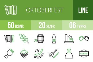50 Oktoberfest Line Green Icons