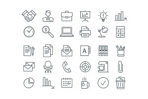 Set of business line icons.