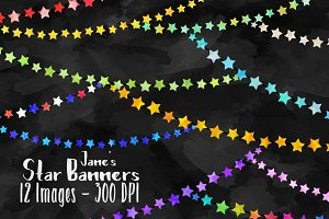 Star Banners Clipart Set