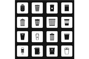 Trash can icons set, simple style