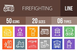 50 Firefighting Line Multicolor Icon