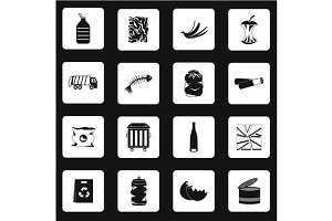 Garbage icons set in simple style