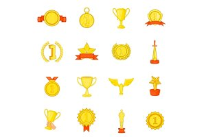 Trophy award icons set