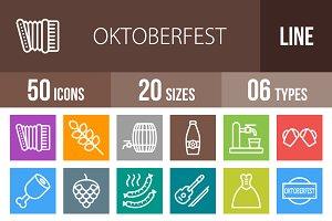 50 Oktoberfest Line Multicolor Icons
