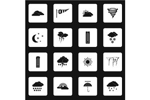 Weather icons set, simple style