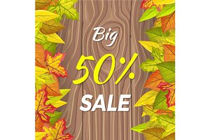 Big 50 Percent Sale Fall Banner