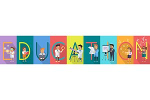 Education Banner. Science Alphabet.