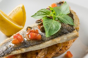 Sea bass fillet with vegetables