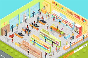 Supermarket Interior Isometric