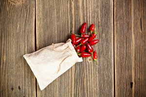 Red chilli peppers in bag