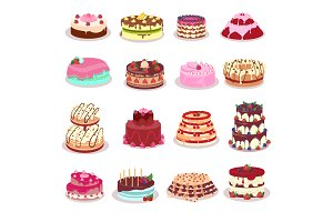 Set of Decorated Cakes