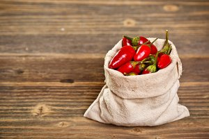 Chilli peppers in bag