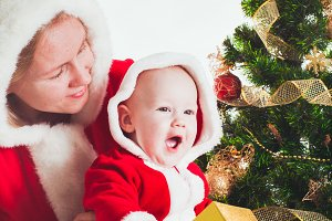 Christmas baby and mom