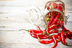 Jar of chilly pepper
