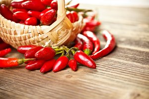 Basket of red hot chili peppers