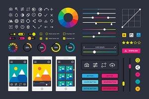 Photo editor app media icons vector