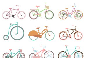 Vector retro bicycle set