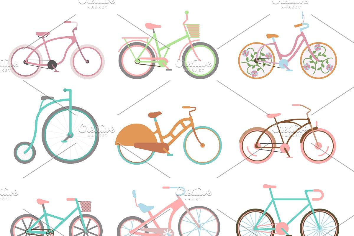 Vector retro bicycle set