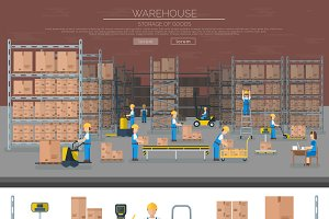 Warehouse worker vector banner