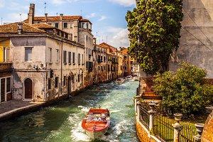 Venetian water taxi.