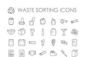 Waste sorting evector outline icons