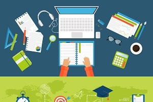 Online education vector banner