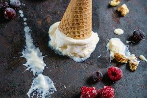 Vanilla ice cream in a waffle cone