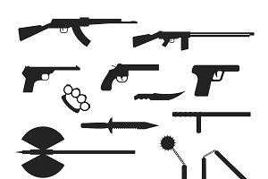 Weapons flat vector collection