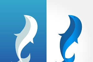 abstract fish logo design