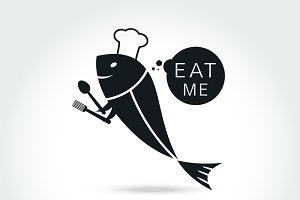Chef Fish logo design template