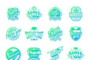 Thank You text vector badge