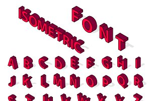 Isometric alphabet typography vector