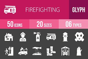 50 Firefighting Glyph Inverted Icons