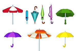 fashion umbrella vector set