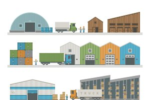 Warehouse buildings industry vector
