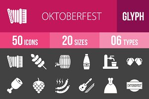 50 Oktoberfest Glyph Inverted Icons