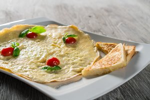 English Omelette with Tomatoes on Table