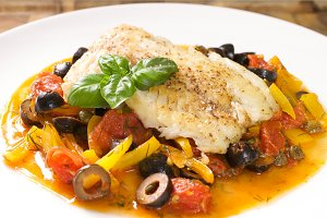 White fish and vegetables