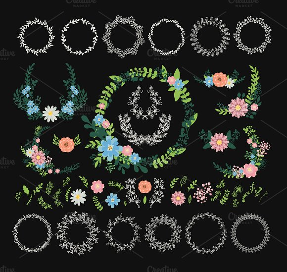 Nature flowers floral wreath vector