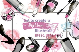 Set to create a fashion illustration
