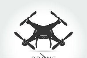 Drone with video camera isolated
