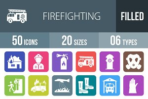 50 Firefighting Round Corner Icons