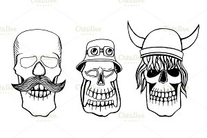 vector illustration skulls set