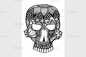 Zentangle Inspired stylized Skull