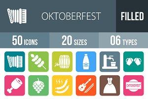 50 Oktoberfest Round Corner Icons