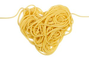 Pasta heart. Isolated on white