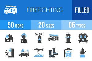 50 Firefighting Blue & Black Icons