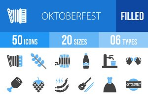 50 Oktoberfest Blue & Black Icons