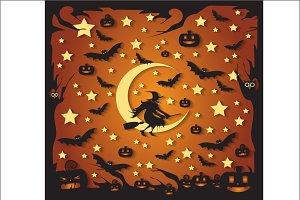Happy Halloween orange witch