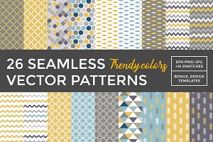 26 Vector Patterns in trendy colors